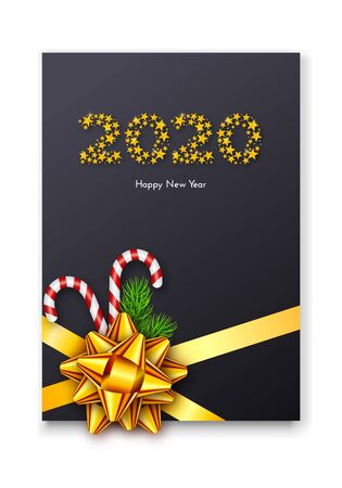 Holiday gift card. Happy New Year 2020. Numbers of golden stars, fir tree branches, tied bow and candy canes. Vector illustration for your design
