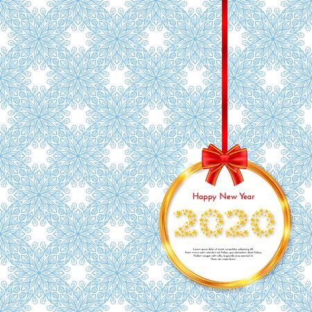 Holiday New Year 2020 gift card with golden circle frame and red bow. Template for a banner, poster, invitation. Vector illustration for your design Ilustração