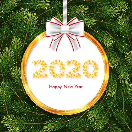 Holiday gift card. Happy New Year 2020. Golden circle frame and white bow on fir tree branches background. Template for a banner, poster, invitation. Vector illustration for your design