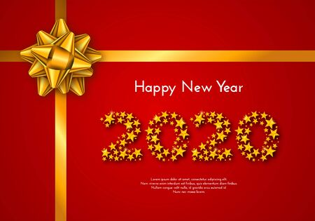 Holiday gift card. Happy New Year 2020. Numbers of stars, tied golden bow on red background. Template for a banner, poster, invitation. Vector illustration for your design