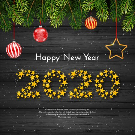 Holiday New Year gift card with numbers 2020 of golden stars, fir tree branches and Christmas balls on dark wood background. Template for a banner, poster, invitation. Vector illustration