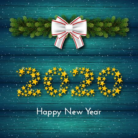 New Year 2020. Holiday gift card with numbers of golden stars, fir garland and bow on turquoise wood background. Template for a banner, poster, invitation. Vector illustration for your design Ilustração