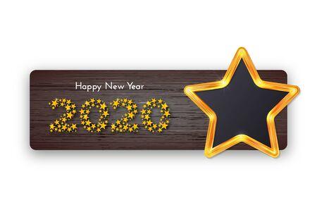 Holiday gift card. Happy New Year 2020. Golden star frame on dark wood background. Template for a banner, poster, invitation. Vector illustration Ilustração