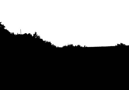 Black tree forest panorama silhouette. Card with copy space. Isolated on white background. Vector nature illustration for your design