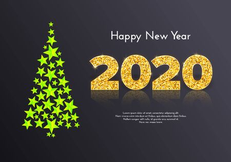 Holiday gift card Happy New Year. Golden numbers 2020 and Christmas tree from green stars on dark background. Celebration decor. Vector Ilustração