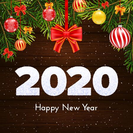 Holiday gift card. Happy New Year 2020. Snow numbers, fir tree branches and red tied bow on wood background. Celebration decor. Vector poster Ilustração