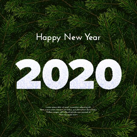 Holiday gift card. Happy New Year 2020. Snow numbers on fir tree wreath background. Celebration decor. Vector art celebrate concept.