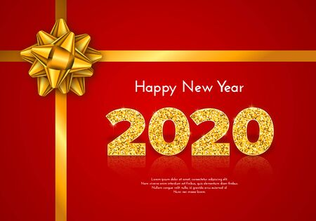 Holiday gift card Happy New Year. Golden numbers 2020 and tied bow on red background. Celebration decor. Vector poster Ilustração