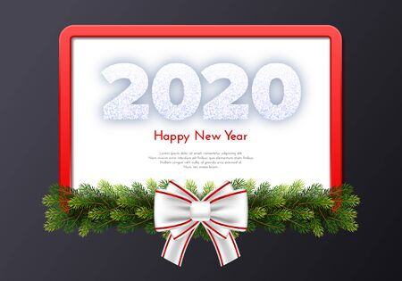 Holiday gift card. Happy New Year 2020. Snow numbers, fir tree branches, red frame and white tied bow on dark background. Vector Ilustração