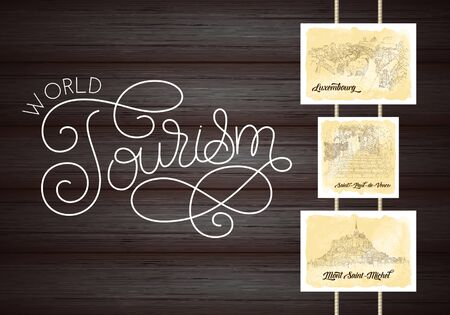City sketching. Line art silhouette. Travel cards on wood background. World tourism lettering. Luxembourg. France, Saint-Paul-de-Vence, Mont Saint-Michel. Sketch style vector illustration. 일러스트