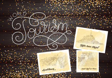City sketching. Line art silhouette. Glitter. Travel cards on wood background. World tourism lettering. France, Saint-Paul-de-Vence, Mont Saint-Michel. Luxembourg. Sketch style vector illustration. 스톡 콘텐츠 - 135720710