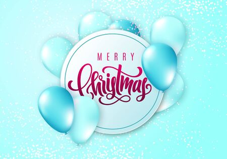 Merry Christmas lettering. Elegant greeting card with realistic glossy flying balloons and sparkling confetti. Decoration template for a banner, poster, invitation. Vector illustration for your design