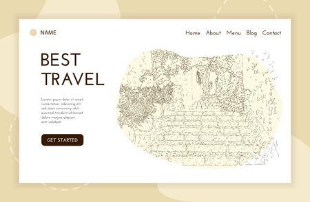 Web landing page template. City sketching. Line art silhouette. Travel banner. Tourism concept. France, Saint-Paul-de-Vence. Vector illustration.