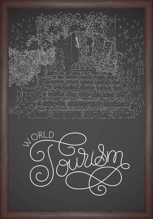 City sketching. Chalkboard concept. Travel card. World tourism lettering. France, Saint-Paul-de-Vence. Sketch style vector illustration.