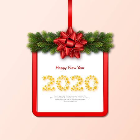 Holiday gift card. Happy New Year 2020. Numbers of golden stars, fir tree branches garland and red frame with tied bow. Template for a banner, poster, invitation. Vector illustration for your design