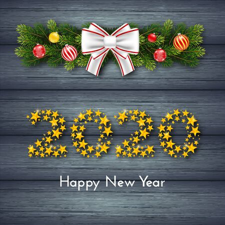 Happy New Year 2020. Holiday gift card with numbers of golden stars, fir garland, bow and Christmas balls on dark wood background. Template for a banner, poster, invitation. Vector illustration 일러스트