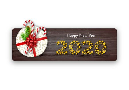 Happy New Year 2020. Holiday gift box with fir tree branches, tied red bow, candy canes and numbers of golden stars on dark wood background. Template for a banner, poster, invitation. Vector 일러스트