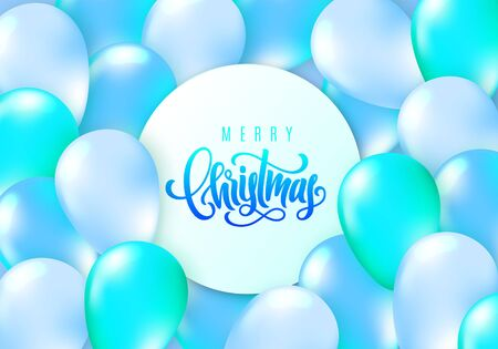 Merry Christmas lettering. Elegant greeting card with realistic glossy flying balloons. Decoration template for a banner, poster, invitation. Vector illustration for your design 일러스트