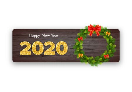 Holiday gift card Happy New Year. Golden numbers 2020, fir tree branches wreath and red tied bow on wood background. Celebration decor. Vector poster
