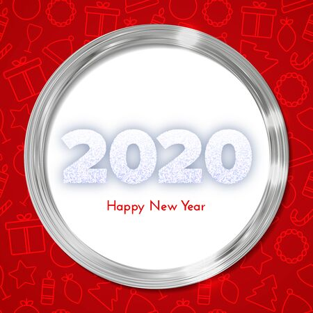 Holiday gift card. Happy New Year 2020. Snow numbers in silver circle frame on red background with Christmas icons pattern. Celebration decor. Vector poster 일러스트