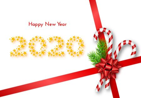 Holiday gift card. Happy New Year 2020. Numbers of golden stars, fir tree branches, tied red bow and candy canes on white background. Vector illustration for your design