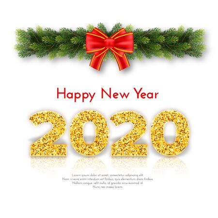 Holiday gift card Happy New Year. Golden numbers 2020, fir tree branches garland and red tied bow on white background. Vector art celebrate decor concept.
