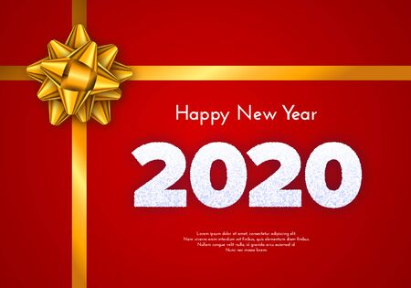 Holiday gift card. Happy New Year 2020. Snow numbers and golden tied bow on red background. Celebration decor. Vector poster