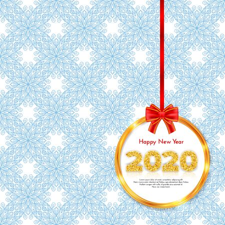 Holiday gift card Happy New Year. Golden numbers 2020, frame and red tied bow on snowy pattern background. Celebration decor. Vector poster 일러스트