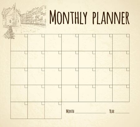 Monthly planner. City sketching. Line art silhouette. Tourism concept. France, Annecy. Sketch style vector illustration.