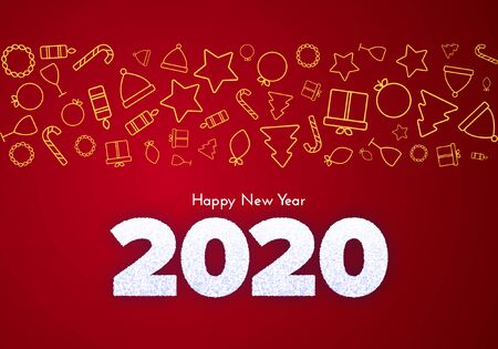 Holiday gift card. Happy New Year 2020. Snow numbers and golden icons border on red background. Celebration decor. Vector poster