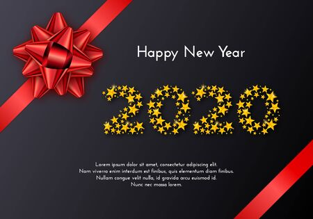 Holiday gift card. Happy New Year 2020. Numbers of golden stars, red bow on black background. Template for a banner, poster, invitation. Vector illustration for your design
