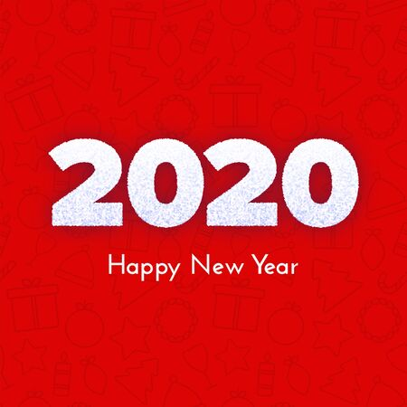 Holiday gift card. Happy New Year 2020. Snow numbers on red icons background. Celebration decor. Vector template illustration