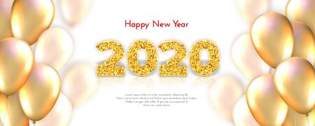 Holiday gift card Happy New Year. Golden numbers 2020 and realistic glossy golden flying balloons. Celebration decor. Vector poster for your design 일러스트