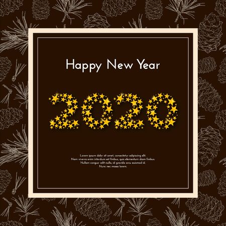 Holiday gift card. Happy New Year 2020. Numbers of golden stars, hand drawn fir tree branches on brown background. Vector illustration for your design