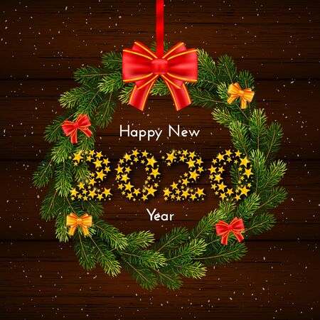 Happy New Year 2020. Holiday gift card with fir wreath and red bow on dark wood background. Template for a banner, poster, invitation. Vector illustration for your design