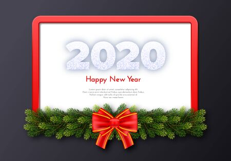 Holiday gift card. Happy New Year 2020. Snow numbers, fir tree branches, red frame and red tied bow on dark background. Vector art celebrate decor concept. 일러스트