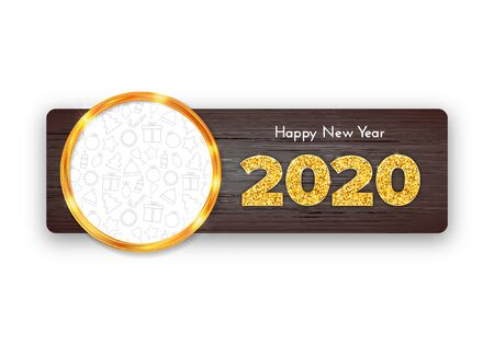 Holiday gift card Happy New Year. Golden numbers 2020, circle frame with Christmas icons on dark wood background. Celebration decor. Vector poster 일러스트