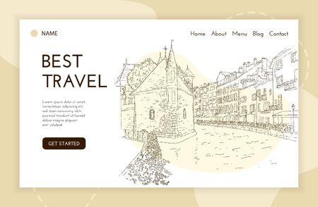 Landing page template. City sketching. Line art silhouette. Travel card. Tourism concept. France, Annecy, Palais de lIsle. Sketch style vector illustration. 일러스트