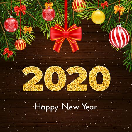 Holiday gift card Happy New Year. Golden numbers 2020, fir tree branches and red tied bow on wood background. Celebration decor. Vector poster 일러스트