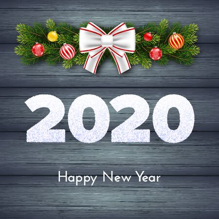 Holiday gift card. Happy New Year 2020. Snow numbers, fir tree branches garland, Christmas balls and white tied bow on wood background. Celebration decor. Vector poster