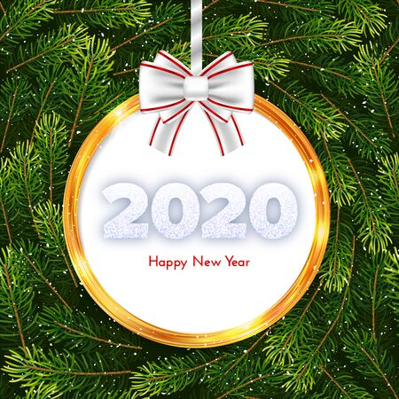 Holiday gift card. Happy New Year 2020. Snow numbers, golden frame and white tied bow on snowy pattern background. Celebration decor. Vector poster