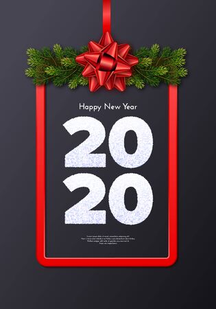Holiday gift card. Happy New Year 2020. Snow numbers, fir tree branches garland and red frame with tied bow. Celebration decor. Vector poster for your design