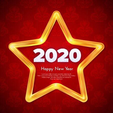 Holiday gift card. Happy New Year 2020. Snow numbers in golden star frame on red pattern background. Celebration decor. Vector poster 일러스트