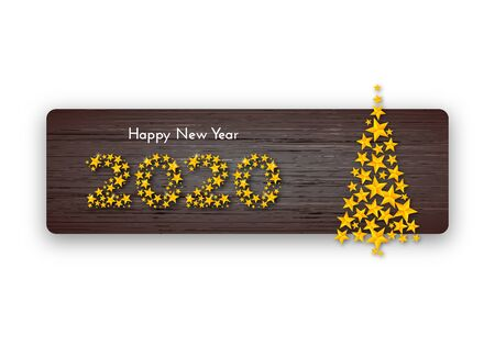 Holiday gift card. Happy New Year 2020. Golden numbers of stars and Christmas tree on dark wood background. Template for a banner, poster, invitation. Vector illustration for your design