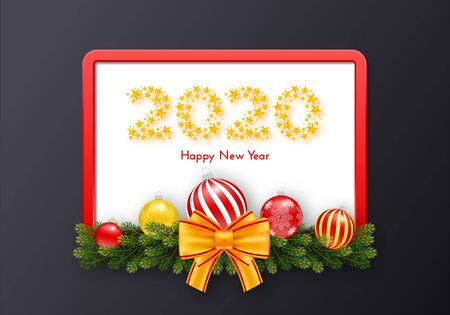 Holiday gift card. Happy New Year 2020. Numbers of golden stars, fir tree branches garland, Christmas balls and red frame with tied bow. Template for a banner, poster, invitation. Vector illustration 일러스트