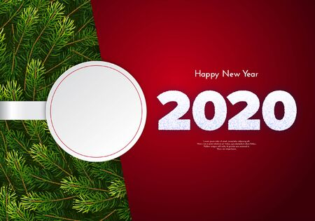 Holiday gift card. Happy New Year 2020. Snow numbers, fir tree branches garland, white paper sticker with a copy space. Celebration decor. Vector poster