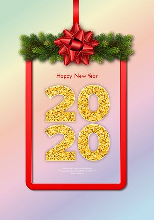 Holiday gift card Happy New Year. Golden numbers 2020, fir tree branches garland and red frame with tied bow. Celebration decor. Vector poster for your design