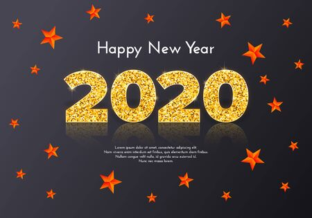 Holiday gift card Happy New Year. Golden numbers 2020 and red stars on dark background. Celebration decor. Vector poster 일러스트