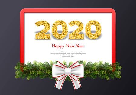 Holiday gift card Happy New Year. Golden numbers 2020, fir tree branches, red frame and white tied bow on dark background. Vector