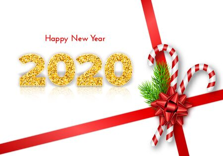 Holiday gift card Happy New Year. Golden numbers 2020, fir tree branches, tied bow and candy canes on red ribbons. Isolated on white. Traditional decor template. Vector